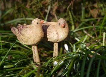 keramické figurky ptáčků