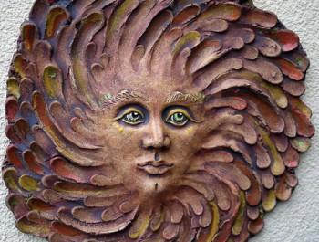Keramický reliéf - sluneční žena zelená