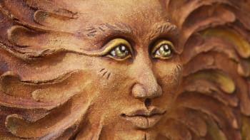 Keramický závěsný reliéf, sluneční žena, zelená