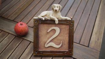 Domovní keramické číslo znamení pes 3 Lucie Polanská
