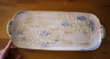 keramický tác podnos štrůdlák zimní květy lucie polanská 2