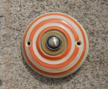 zvonkové tlačítko keramika mosaz mrazuvzdor klasik oranžový pruh lucie polanská 2