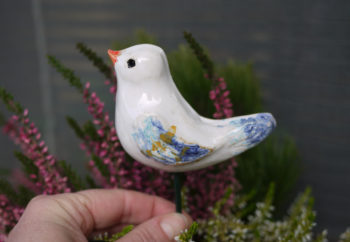 keramický zápich ptáček barevný mrazuvzdorný lucie polanská 4