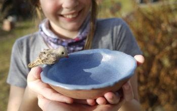 keramické pítko malé s ptáčkem1